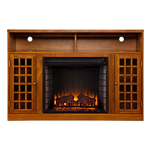 SEI Narita Media Console with Electric Fireplace, Glazed Pine