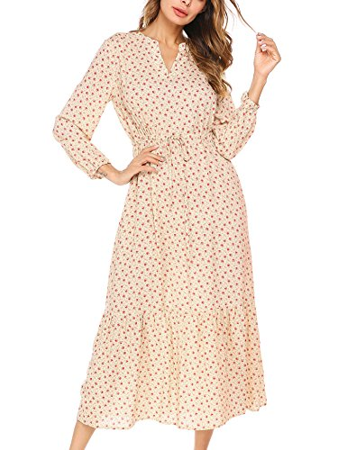 (BEAUTYTALK Women's Long Sleeve Spring Floral Casual Chiffon Gown Maxi Dress,Beige,M)