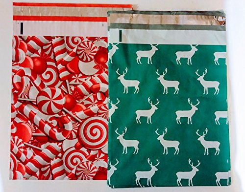 (Poly mailers Mix Pack Candy Canes and Reindeer (20 each design 10 x 13) )