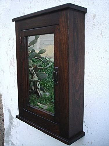Primitive Mission Medicine Cabinet Dark Walnut Solid Wood Handmade Surface Mount