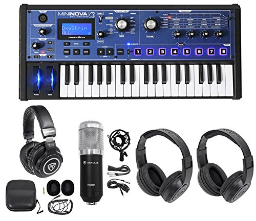 Novation MiniNova 37-Key USB MIDI Keyboard Synth+(2) Headphones+Studio Mic -