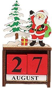 Christmas Wooden Santa Calendar Decor Desktop Ornament Christmas Home and Office Desk Decorations