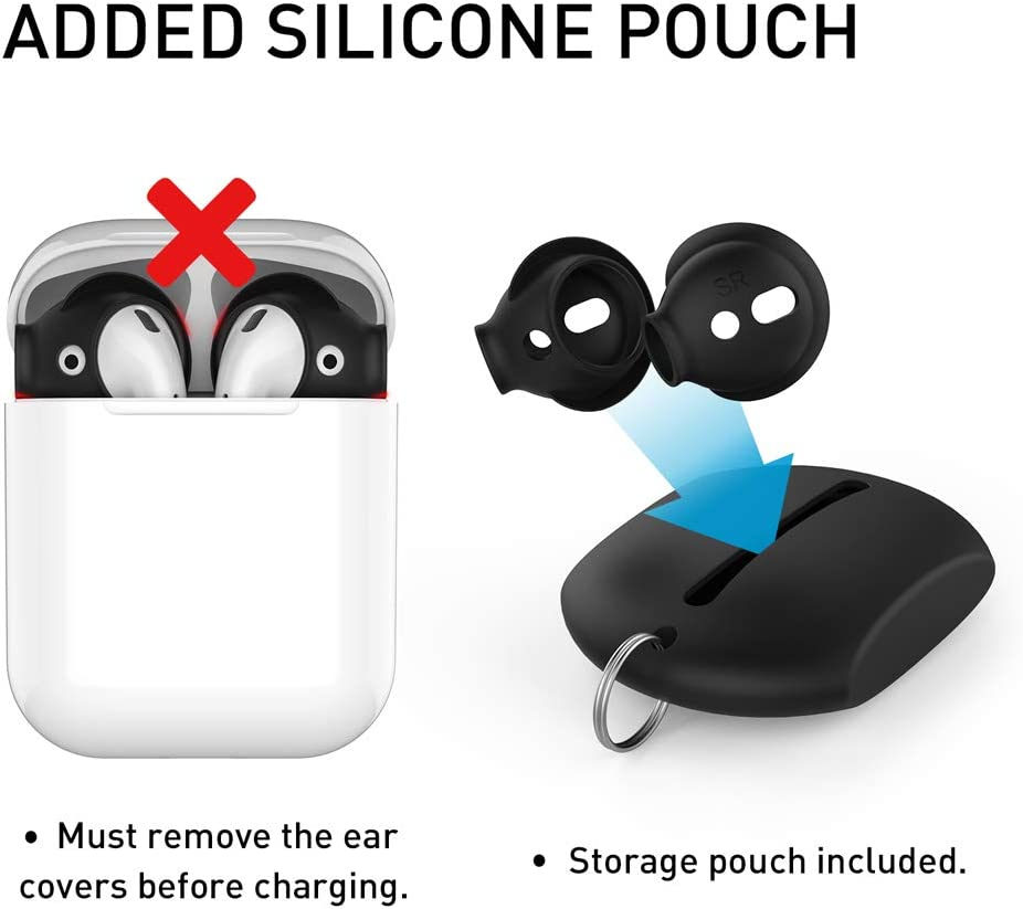 White- Large /& Small Included Storage Hook Pouch Compatiable with Apple AirPods 2 /& 1 or EarPods Not Fit Charging Case Delidigi 2 Pairs AirPods Ear Covers Silicone Ear Tips