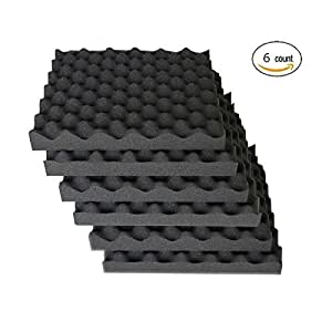 "6 Pack Eggcrate Acoustic Foam Sound Proof Foam Panels Nosie Dampening Foam Studio Music Equipment 1.5"" x 12"" x 12"""