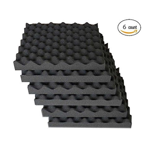 "6 Pack Eggcrate Acoustic Foam Sound Proof Foam Panels Nosie Dampening Foam Studio Music Equipment 1.5"" x 12"" x 12"" - Image 2"