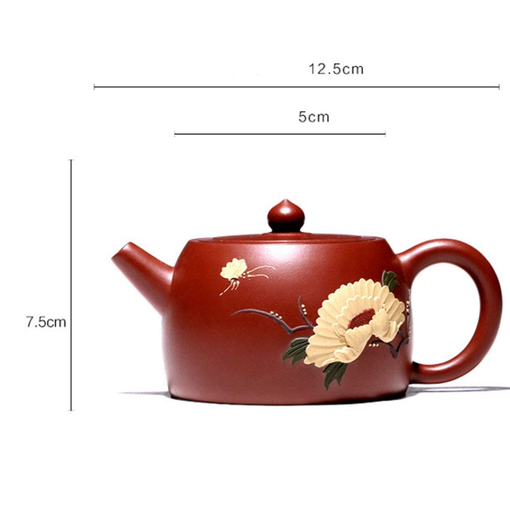 Teapot Pure Handmade Dahongpao Zhu Mudie Love Flower Pot Tea Set Kung Fu Teapot Set Non-ceramic Organ Mine Dahongpao Squirrel Pot (Color : BROWN, Size : 13X8CM) by GQQ (Image #7)
