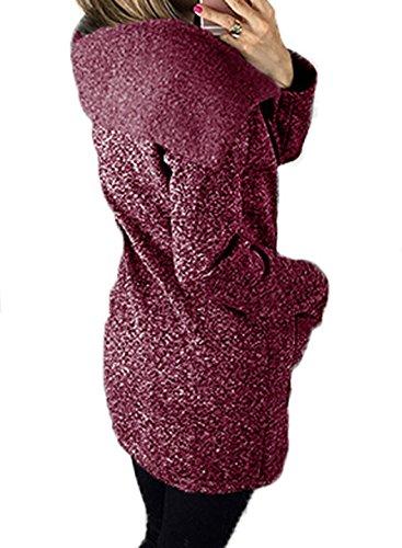Oblicua Mujer Con Largo Cremallera Otoño Cálido Moda Chaqueta Abrigo Hoodie Casual Púrpura Sudaderas Invierno Capucha Casual xq5wg