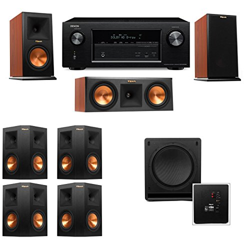 Klipsch RP-150M-CH Monitor Speaker 7.1 SW-112 Denon AVR-X2100W