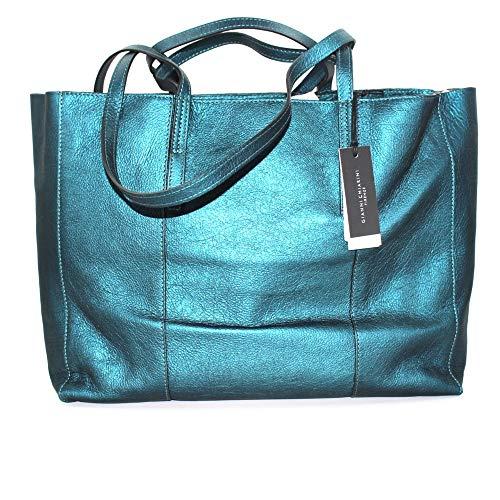 Gianni CHIARINI dam shoppingväska modell shopping i färg bensin av laminerat läder, med innerfickor, ytterfickor, dubbelt axelhandtag, dubbla handtag BS 7356 BIOSABORSE