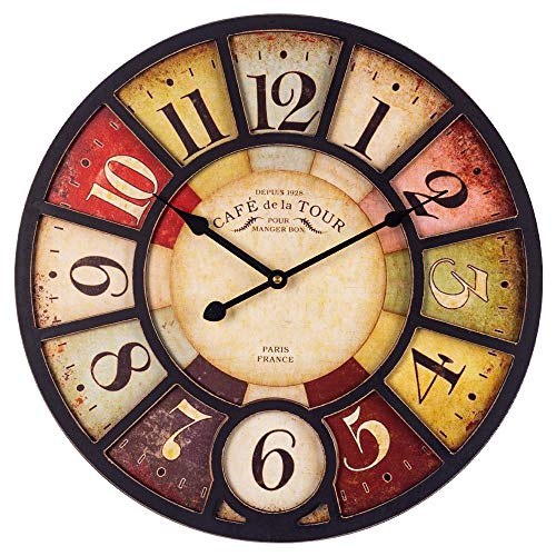 SkyNature Vintage Wall Clock, French Antique Wooden Decor Clock with Arabic Numerals, Silent Non-Ticking Battery Operated Indoor Home Clock for Living Room, Bedroom, Kitchen and Den - 14 Inch, Paris