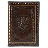 Eccolo Lions Refillable Leather Journal with Embossed Lion Crest, Gold Edge Sheets, Lined, 6x8''