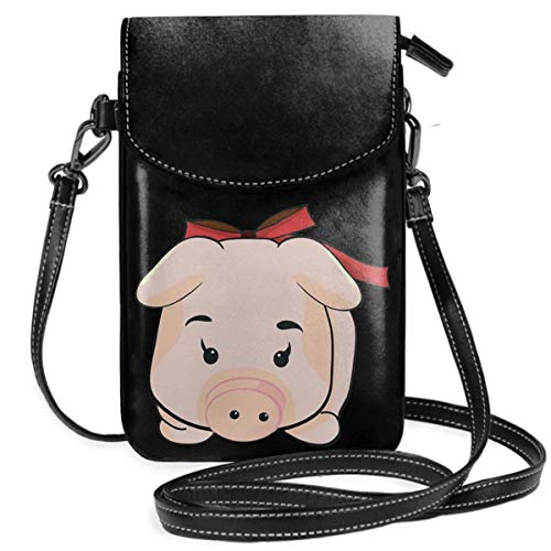 Small Cell Phone Purse For Women Leather Cartoon Piggy Insides Card Slots Crossbody Bags Wallet Shoulder Bag