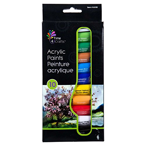 CTG 10-pc Acrylic Paint for Watercolor or Oil Painting Projects, 8.25 inches, Multicolor