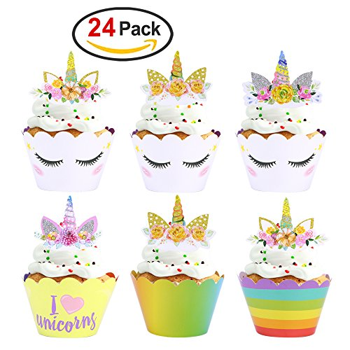 Unicorn Party Supplies Unicorn Cupcake Toppers and Wrappers(24Pack),Konsait Unicorn Cupcake Topper Horn and Ears Double Sided for Kids Girls Rainbow Themed Unicorn Birthday Party Favors Decorations