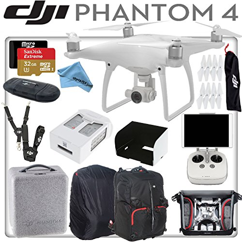 DJI-Phantom-4-Quadcopter-w-eDigitalUSA-Bundle-Includes-Intelligent-Flight-Battery-SanDisk-32GB-Extreme-MicroSD-Card-Monitor-Hood-DJIManfrotto-Backpack-for-Phantom-4-and-more