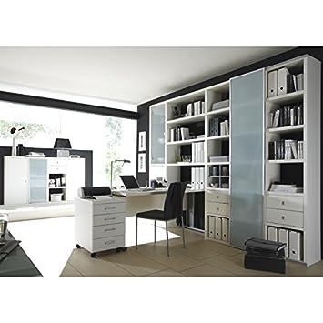 Wohnwand Bücherregal Mit Schreibtisch U0026 Sideboard TOLEO238 Lack Weiß Nice Look