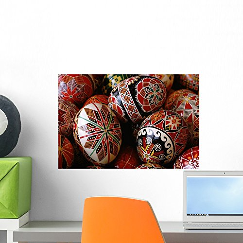 Basket Ukrainian Easter Eggs Wall Mural by Wallmonkeys Peel and Stick Graphic (18 in W x 12 in H) WM741