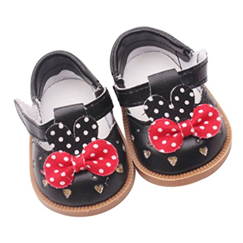"Prettyia Cute PU Leather Shoes Bowknot Shoes For 18"" American Girl Dolls Accs Black from Prettyia"