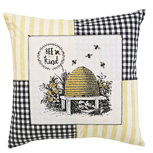 Comfy Hour Spring Flower Bee Kind Beehive Accent Pillow Throw Pillow Decorative Cushion, 18