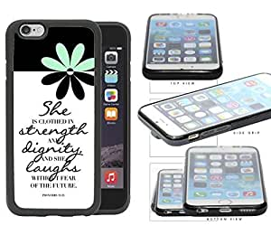Proverbs 31:25 Bible Verse with Mint and Black Daisy Flower Rubber TPU Cell Phone Case Cover iPhone 6 (4.7 INCH SCREEN) by icecream design