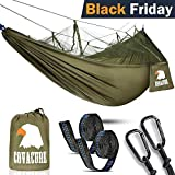 Covacure Camping Hammock with Mosquito Net - Lightweight Double Hammock, Portable Hammocks for Indoor,Outdoor, Hiking, Camping, Backpacking, Travel, Backyard, Beach