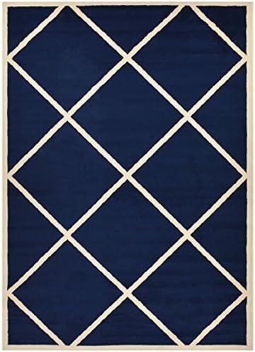Conur Collection Trellis Area Rug Rugs Geometric Modern Contemporary Area Rug Rugs Lattice Design 2 Color Options Navy Blue, 4 11 x 6 11