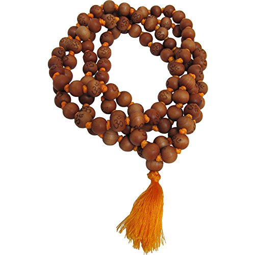 10mm 108 Peach Wood Beads Tibetan Buddhist Prayer Yoga Meditation Om Carved Mala Necklace /w Gift Pouch (Wood Peach Beads)