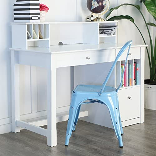 Walker Edison Furniture White Wood Deluxe Storage Computer Desk