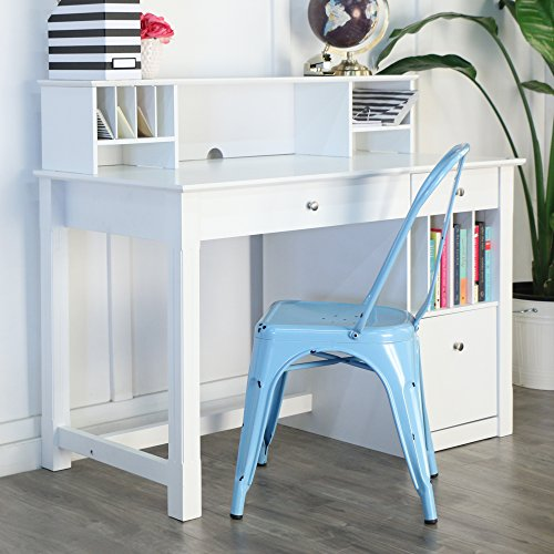 WE Furniture White Wood Deluxe Storage Computer Desk with Hutch (Wood Computer Hutch)