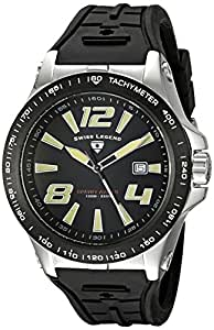 Swiss Legend Men's 10043-01-BB Sprint Racer Black Dial Black Silicone Watch