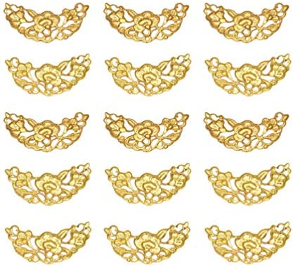 HEALLILY 100 Pcs Hair Stick Making Accessories Vintage Bridal Charm Plating Iron Crescent DIY Jewelry Accessories for Hairpin Hairband Brooch (Golden) / HEALLILY 100 Pcs Hair Stick Making Accessories Vintage Bridal Charm Plating Ir...