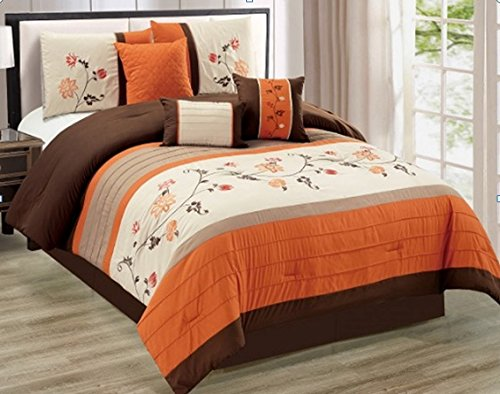 Modern 7 Piece QUEEN Floral Embroidered Bedding Orange / Brown / Beige Stripe Comforter Set with accent pillows (Brown Bedding Set)