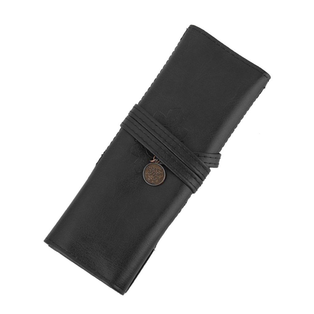 Pochette Rouleau de Stylo Sac Cosmétique Porte-brosse de Maquillage Rétro Noir Générique USA14018715