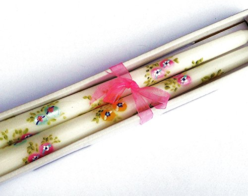 Decorative Hand Painted Easter Egg and Flower Taper Candles
