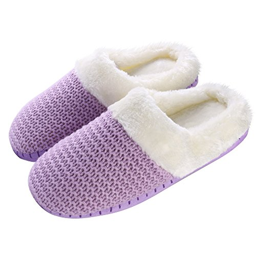 Aerusi Weave Knit Slippers, Lavender Purple, Women's Shoe Size: 7 - Lavender Fuzzy Slippers