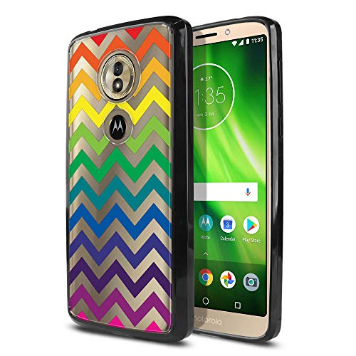 WIRESTER Case Compatible with Motorola Moto G6 Play 5.7 inch, Slim Shock Absorbing TPU Bumper + Clear Hard Protective Case Cover for Moto G6 Play - LGBT Chevron Pattern