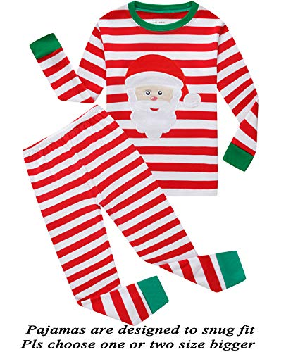 Boys and Girls Christmas Pajamas Cotton Shirts Toddler Clothes Kids Pjs Sleepwear Size 4T Red/White -