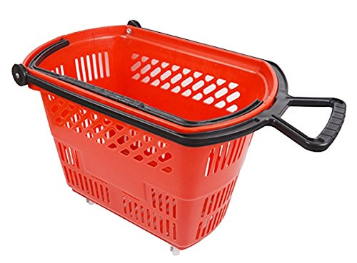 Grocery Shopping Basket Plastic Supermarket with Pull Handle Retail Display Store Red Lof of 6 NEW by Bentley's Display