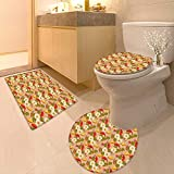 Printsonne 3 Piece Toilet mat Set Koi Fishes Swimming with Lotus Flowers Zen Yoga Meditation Boho Pattern Multicolor 3 Piece Shower Mat Set