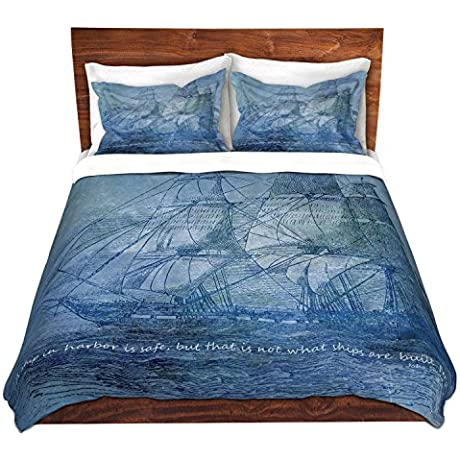 DiaNoche Designs Microfiber Duvet Covers Angelina Vick Sailboat Quote 2