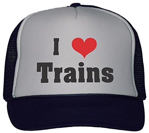 I Love/Heart Trains Trucker Hat Cap Navy Train Trucker Hat