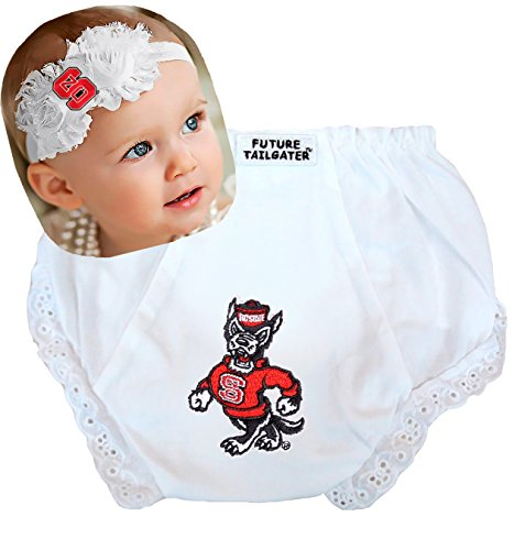 NC State Wolfpack Baby Diaper Cover and Shabby Bow Headband Set (Newborn - 6 - State Nc Wolfpack Pajamas