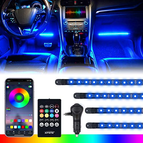 [Upgraded] Xprite RGB LED Car Interior Bluetooth Light Strips with Wireless Remote, Silicone Sealed, Under Dash Footwell Lights Kit w/Cigarette Adapter for Vehicle Internal, RV, SUV, Trucks -4 PCS