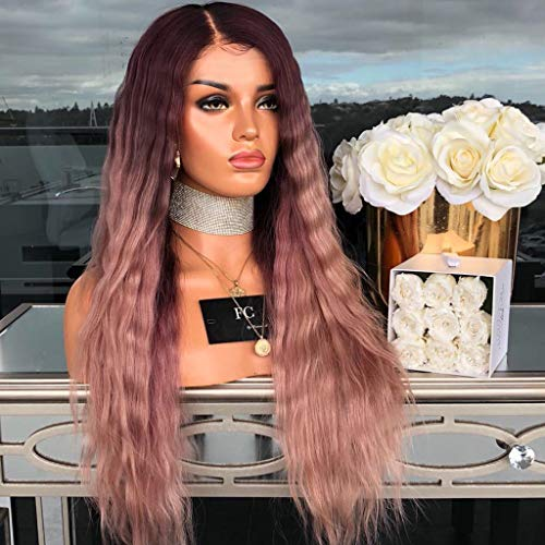 Tuscom Medium-Sized Bubble Noodles Long Curly Wig, Long Curly Straight Wavy Synthetic Full Hair,28''70cm Pink Purple for Girl Women Women's Casual Cosplay Party Wig (Pink)