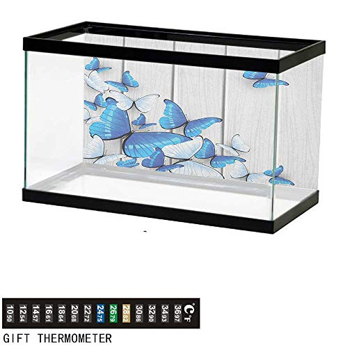 Jinguizi ButterfliesFish Tank BackdropBlue and White Butterflies on Wooden Background Timber Wall Rustic Life36 L X 24