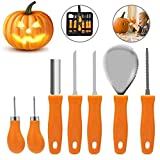 Pumpkin Carving Kit, Halloween Pumpkin Carving Tools, Premium 7 Piece Reusable Sturdy Stainless Steel Pumpkin Tools Set for Adult And Child