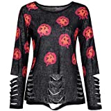 Women Halloween Costume Shirt Ripped Sheer Long Sleeve O-Neck Pumpkin Tee Top(O,X-Large)