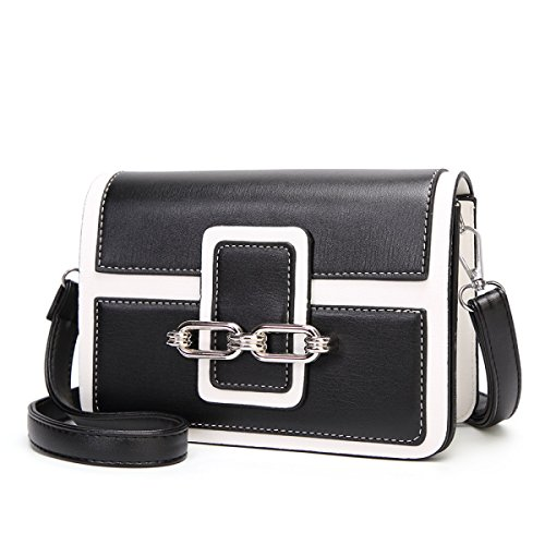 Cuero Bag Oil Messenger De Retro Purse Ladies Shoulder Wax Small Bolsa Crossbody Square Black Moda YAvZtw