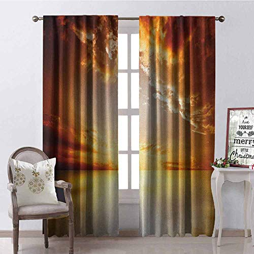 Gloria Johnson Sun 99% Blackout Curtains Majestic Sunset View Tranquil Horizon Dramatic Skyscape Clouds Ocean Outdoors for Bedroom- Kindergarten- Living Room W42 x L63 Inch Yellow Dark Orange ()