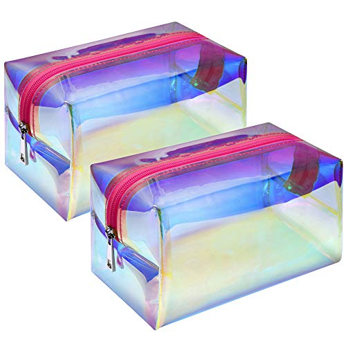 Holographic Makeup Bag, F-color 2 Pack Large Travel Makeup Bag, Fashion Toiletry Bag Cosmetic Organizer for Women, Rose Pink